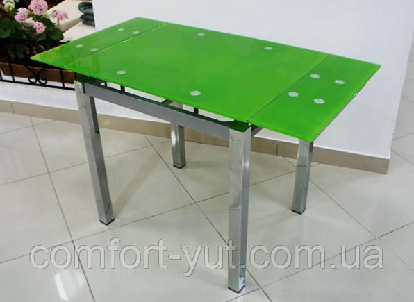 Стол стеклянный раскладной обеденный ТВ17 салатовый 110\170*75*75