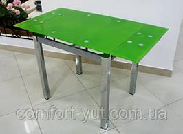Стол стеклянный раскладной обеденный ТВ14 салатовый 96\156*70*75