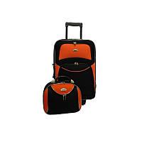 Комплект RGL 773 Большой, Чемодан + бюти кейс, Черно-оранжевый, набор дорожных чемоданов на колесиках