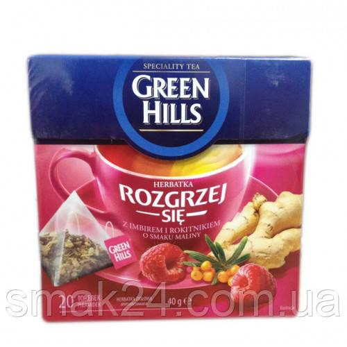 Чай черный Green Hills с малиной, имбирем и облепихой 20 пирамидок  Польша