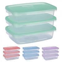 """Набор контейнеров """"Fresh"""" PT-82606, пластиковые,в наборе 3 шт, прямоугольный, 700мл, емкость для хранения продуктов"""