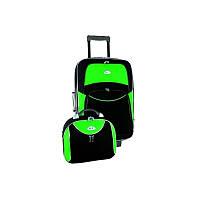 Комплект RGL 773 Малый, Чемодан + бюти кейс, Черно-салатовый, набор дорожных чемоданов на колесиках
