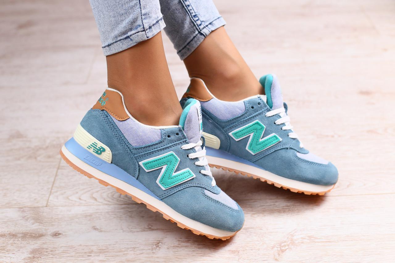 Женские кроссовки NEW BALANCE голубой+зеленый натуральная замша ... 9d95f0001aa51