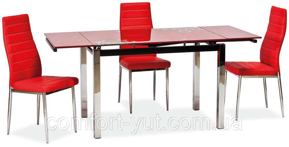 Стол стеклянный раскладной обеденный ТВ14 красный 96\156*70*75