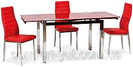 Стол стеклянный раскладной обеденный ТВ17 красный 110\170*75*75