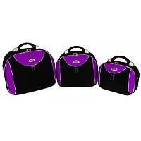 Комплект бьюти кейсов RGL 773, Черно-фиолетовый, набор дорожных кейсов, чемоданы
