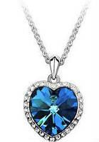 Кулон на цепочке Сердце темно-синий tb1081