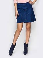 Замшевая синяя юбка на пуговицах р.50, фото 1