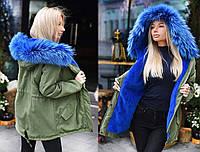 """Женская тёплая зимняя куртка-парка до больших размеров 9015-1 """"Парка Цветной Мех Натуральный"""" в расцветках"""
