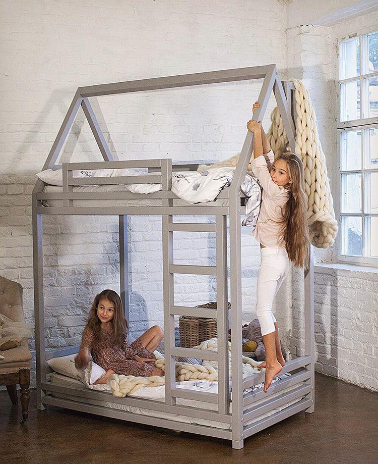Кровать 2-ярусная домик детский двухэтажный из массива дерева