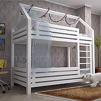 Кровать домик детский двухэтажный из массива дерева с бортиками