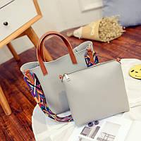 Дефект. Женская сумка + маленькая сумочка набор серый