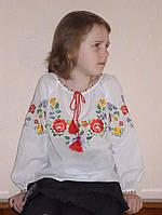 """Блуза дівоча (Вишиванка) """"Віночок"""", довгий рукав, батист, фото 1"""