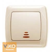 VIKO СARMEN Выключатель одно клавишный кремовый с подсветкой