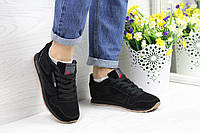 Замшевые черные кроссовки Reebok Classic Leather, женские