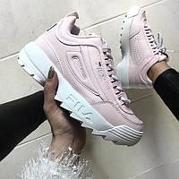Женские кроссовки в стиле Fila Disruptor 2  розовые  кожа, фото 1