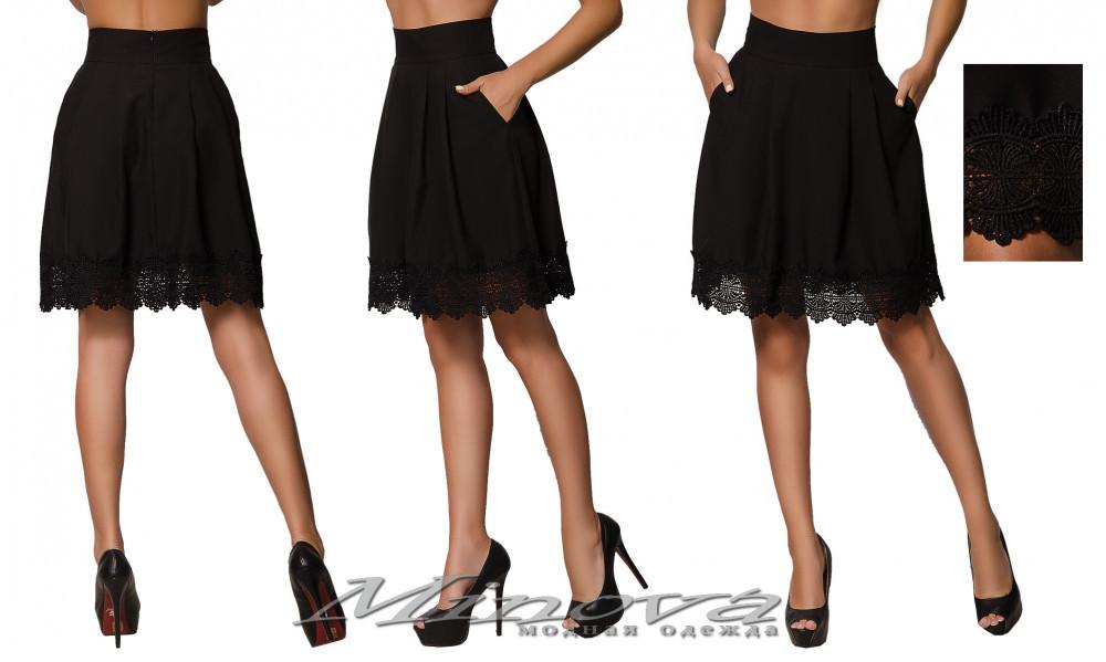 Черная женская юбка украшена кружевом ( р. 42-46 )
