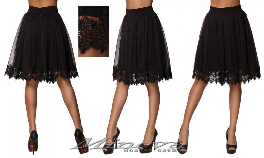 Черная женская юбка украшена сеткой из фатина и кружевом ( р. 42-46 )
