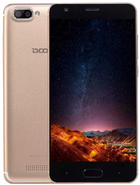 Смартфон с двойной камерой на 2 сим карты 5 дюймов 1/16Gb Doogee X20 золотой