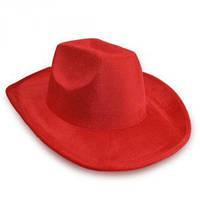 Шляпа Ковбоя велюровая красная