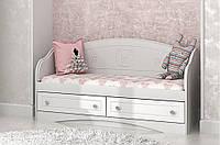 """Удобный светлый детский диван """"Мишка"""" с ящиками в комнату для подростка (размер 90х190 см) ТМ «Вальтер» Белый"""