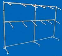 Пристенная двухярусеная стойка вешалка Две Секции односторонняя металлическая на ножках с флейтами