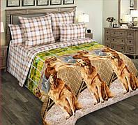 Семейное постельное белье простынь на резинке 180/200/34, Рич, перкаль 100%хлопок