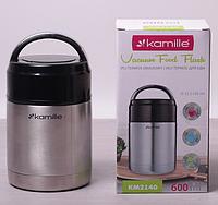 Термос пищевой 600мл из нержавеющей стали с пластиковой крышкой Kamille 2140