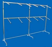 Пристенная двухярусеная стойка вешалка Две Секции односторонняя металлическая на колёсах с флейтами