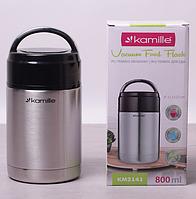 Термос пищевой 800мл из нержавеющей стали с пластиковой крышкой Kamille 2141