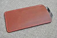 Кожаный чехол-карман для телефона ручной работы