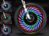 Светодиодная подсветка колес для безопасного передвижения велосипедистов    Посадочное место: спицы    Размеры
