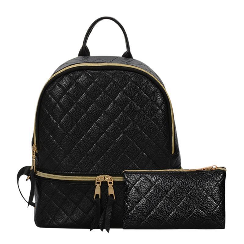 7d705a51bd78 Рюкзак женский для девушек, девочек из кожзама стеганый с чехлом для  телефона, набор (черный)