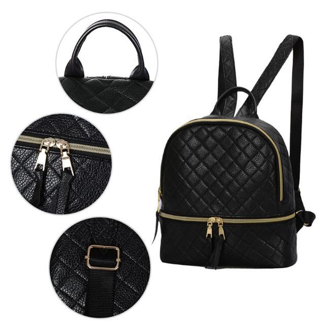 60adc7002b12 Рюкзак женский для девушек, девочек из кожзама стеганый с чехлом для ...