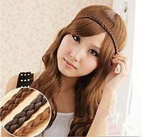 Новинка! Эластичная повязка-косичка из синтетических волос, цвет - светло-коричневый