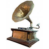 """Граммофон """"Антик"""" действующий, 78-скорость (квадратный,  """"Золото"""")(63х32х32 см)"""