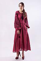 Длинное бордовое вышитое платье Ясные зори с черной вышивкой, фото 1