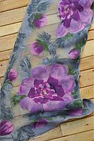 """Шарф-снуд с принтом """"цветы"""" сиреневый LilyScarf"""