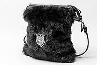 Женская сумка из эко-кожи с мехом норки и украшением