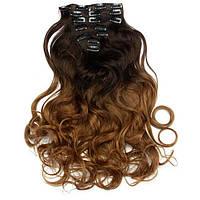 Волосы на заколках волнистые омбре шоколад +рыже русый