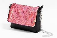 Женская сумка из эко-кожи с пайетками на цепочке