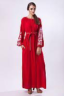 Красное платье ровоного кроя с белой вышивкой Дерево Жизни, фото 1