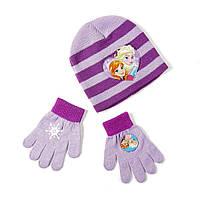 Детский вязаный комплект р.51 Frozen /Холодное сердце шапка + перчатки ТМ ARDITEX WD9788 фиолетов, фото 1