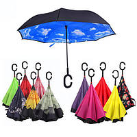 Зонты обратного сложения Smart, полуавтомат, цвет Зеленый