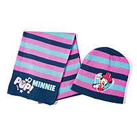 Детский вязаный комплект 2в1 Minnie Mouse /Минни Маус шапка + шарф из акрила (размеры 48 / 51) ТМ ARDITEX WD9757 розовый