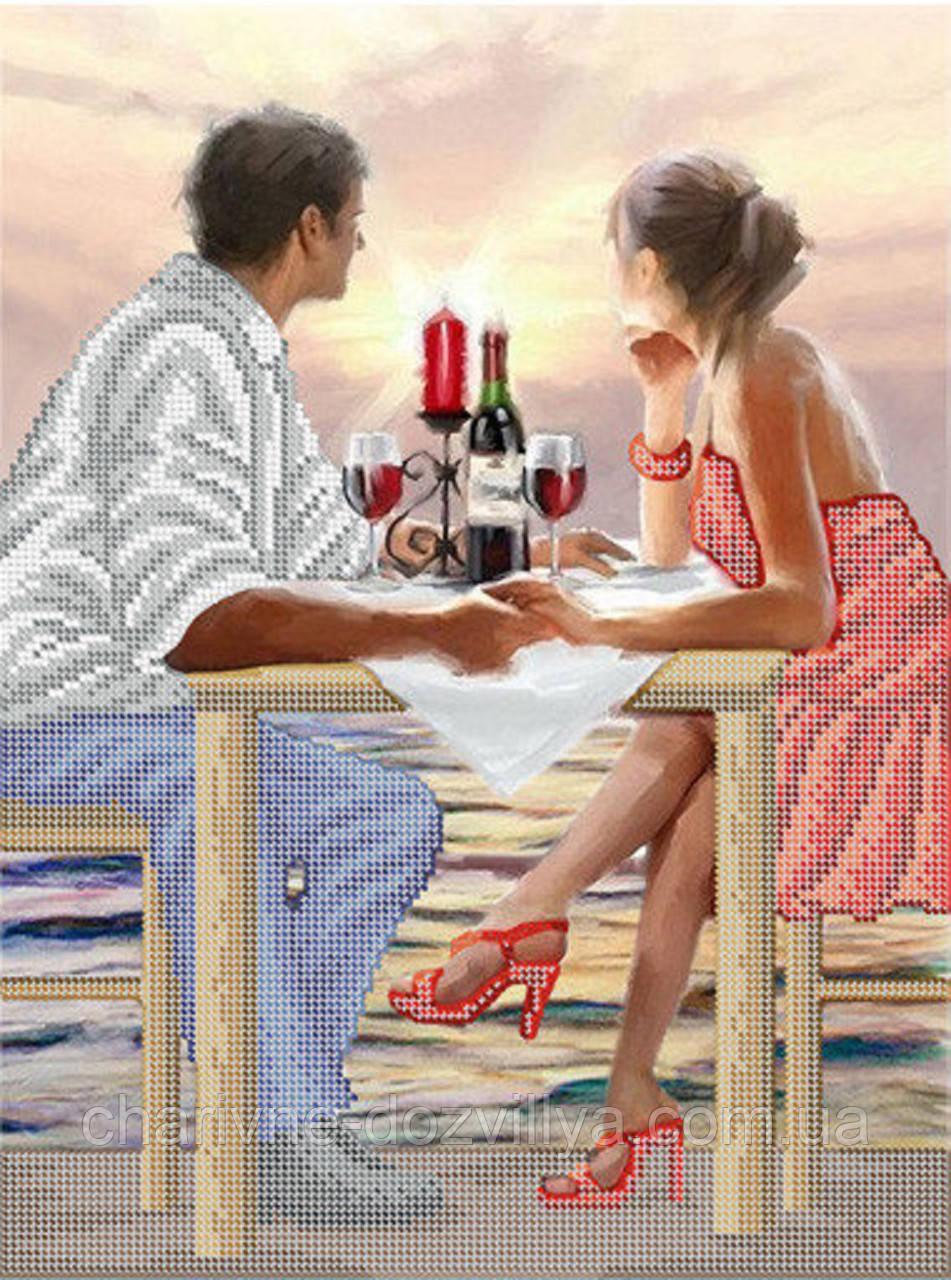 """Схема для вышивки бисером (бісером) на габардине """"Влюбленная пара"""""""