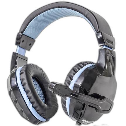 Ігрова гарнітура NUBWO 3000 чорно-синя з мікрофоном, фото 2
