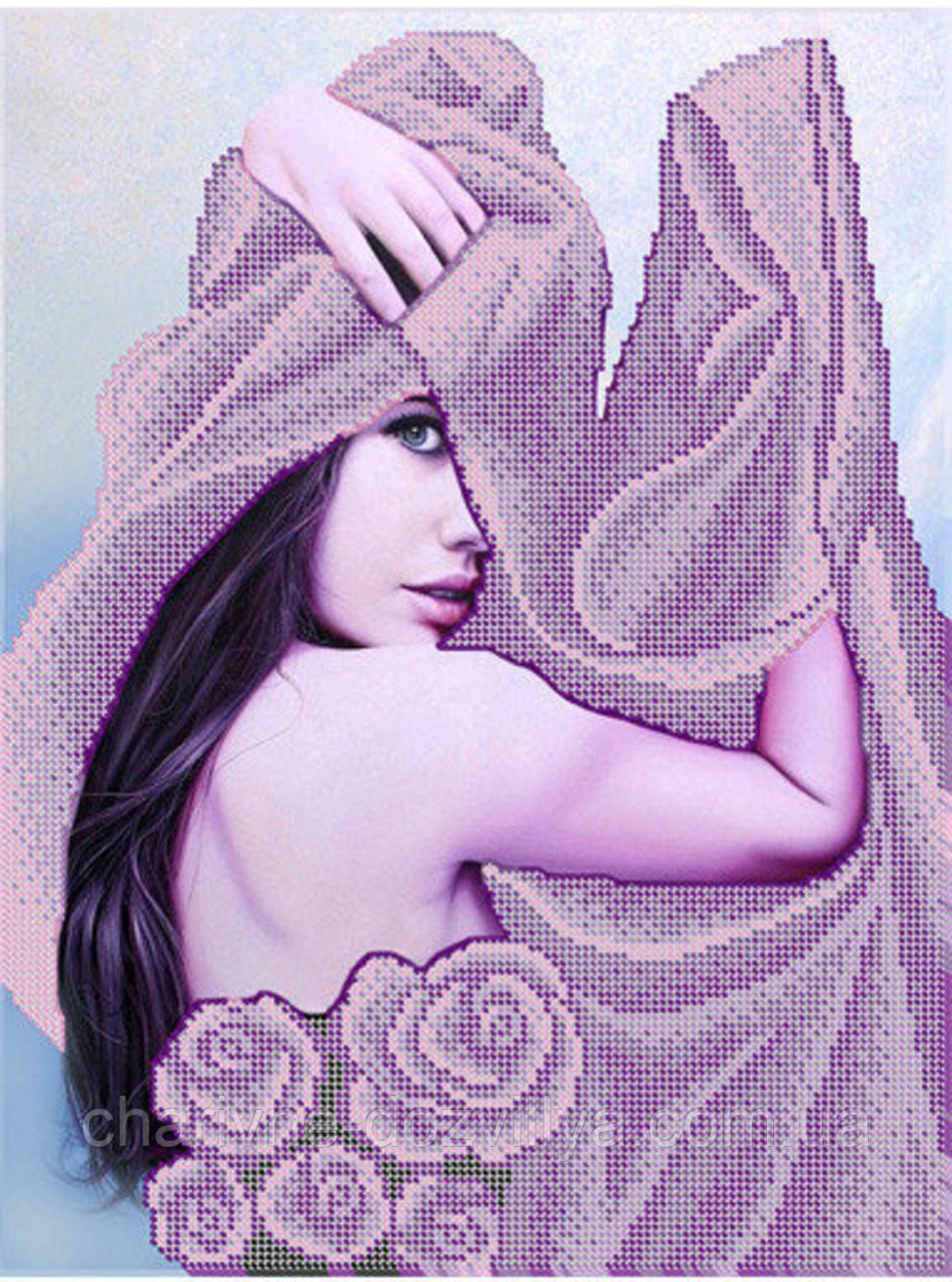 """Схема для вышивки бисером (бісером) на габардине """"Девушка в фиолетовом"""""""