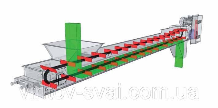 Скребковый конвейер длиной 9 м в коробе 200 мм укомплектован мотор-редуктором 2.2 кВт