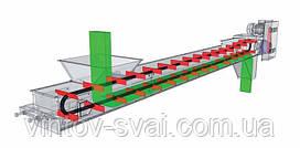 Скребковый конвейер длиной 2 м в коробе 200 мм укомплектован мотор-редуктором 0,55 кВт